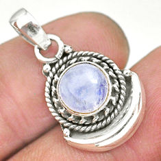 2.90cts natural rainbow moonstone 925 sterling silver moon pendant r89600