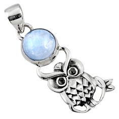 4.84cts natural rainbow moonstone 925 sterling silver owl pendant jewelry r52920