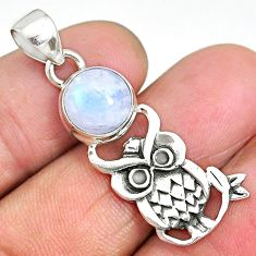 4.78cts natural rainbow moonstone 925 sterling silver owl pendant jewelry r90498