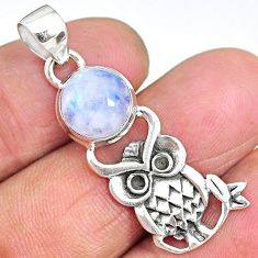 4.64cts natural rainbow moonstone 925 sterling silver owl pendant jewelry r90499