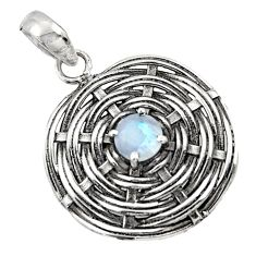 1.25cts natural rainbow moonstone 925 sterling silver pendant jewelry d45679