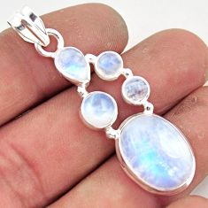14.88cts natural rainbow moonstone 925 sterling silver pendant jewelry r43053
