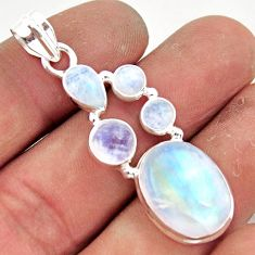 14.31cts natural rainbow moonstone 925 sterling silver pendant jewelry r43057
