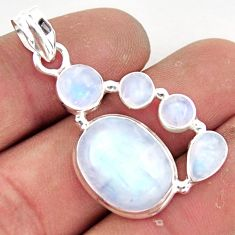 14.51cts natural rainbow moonstone 925 sterling silver pendant jewelry r43059