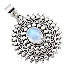 4.16cts natural rainbow moonstone 925 sterling silver pendant jewelry r47069