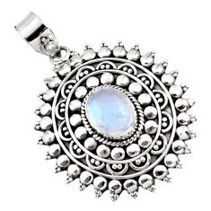 4.55cts natural rainbow moonstone 925 sterling silver pendant jewelry r47076