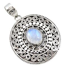 4.45cts natural rainbow moonstone 925 sterling silver pendant jewelry r47077