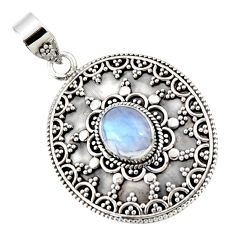 4.40cts natural rainbow moonstone 925 sterling silver pendant jewelry r47079
