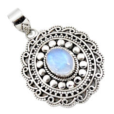 3.92cts natural rainbow moonstone 925 sterling silver pendant jewelry r47080