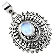 4.22cts natural rainbow moonstone 925 sterling silver pendant jewelry r47087