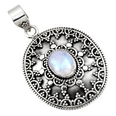 4.20cts natural rainbow moonstone 925 sterling silver pendant jewelry r47091