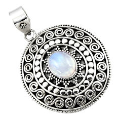 4.55cts natural rainbow moonstone 925 sterling silver pendant jewelry r47094