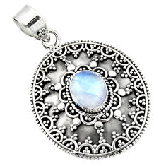 4.49cts natural rainbow moonstone 925 sterling silver pendant jewelry r47100