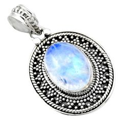 6.30cts natural rainbow moonstone 925 sterling silver pendant jewelry r53153