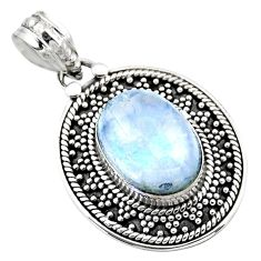 6.83cts natural rainbow moonstone 925 sterling silver pendant jewelry r53154