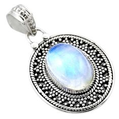 6.34cts natural rainbow moonstone 925 sterling silver pendant jewelry r53157