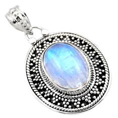 6.56cts natural rainbow moonstone 925 sterling silver pendant jewelry r53158