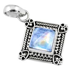 3.51cts natural rainbow moonstone 925 sterling silver pendant jewelry r57658