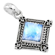 3.66cts natural rainbow moonstone 925 sterling silver pendant jewelry r57660