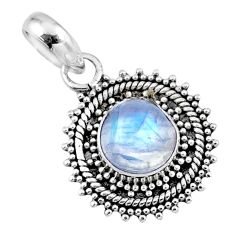 3.05cts natural rainbow moonstone 925 sterling silver pendant jewelry r57675