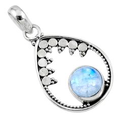 3.17cts natural rainbow moonstone 925 sterling silver pendant jewelry r57697