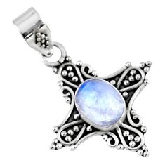 2.13cts natural rainbow moonstone 925 sterling silver pendant jewelry r57720