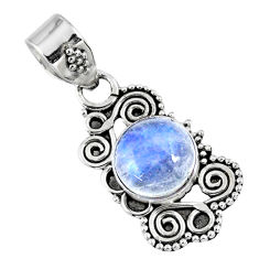 3.17cts natural rainbow moonstone 925 sterling silver pendant jewelry r57737