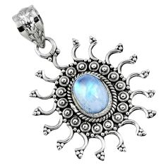 3.01cts natural rainbow moonstone 925 sterling silver pendant jewelry r57779