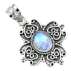 3.19cts natural rainbow moonstone 925 sterling silver pendant jewelry r57800