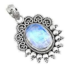 6.31cts natural rainbow moonstone 925 sterling silver pendant jewelry r57820