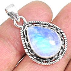 8.78cts natural rainbow moonstone 925 silver handmade pendant r74196