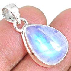 11.15cts natural rainbow moonstone 925 silver handmade pendant r74207