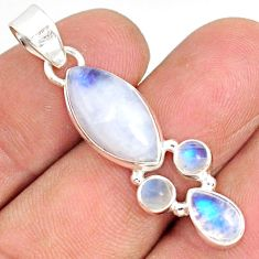 11.73cts natural rainbow moonstone 925 silver handmade pendant r76973