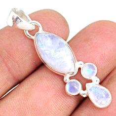 10.65cts natural rainbow moonstone 925 silver handmade pendant r76974