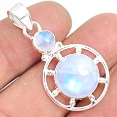 8.44cts natural rainbow moonstone 925 sterling silver handmade pendant r81308