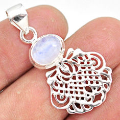 3.11cts natural rainbow moonstone 925 sterling silver handmade pendant r81325