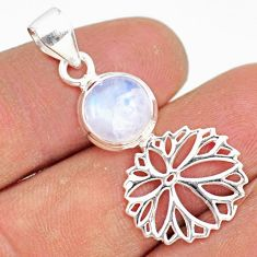 5.21cts natural rainbow moonstone 925 sterling silver handmade pendant r81396