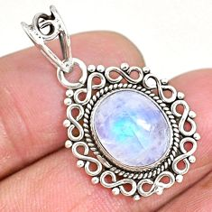 4.97cts natural rainbow moonstone 925 sterling silver pendant jewelry r93962