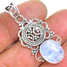5.06cts natural rainbow moonstone 925 sterling silver pendant jewelry r93997