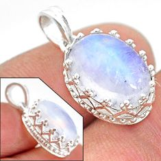 5.44cts natural rainbow moonstone 925 sterling silver pendant jewelry t20446
