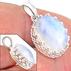 7.00cts natural rainbow moonstone 925 sterling silver pendant jewelry t20480