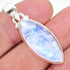 14.23cts natural rainbow moonstone 925 sterling silver pendant jewelry t23725