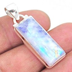 15.39cts natural rainbow moonstone 925 sterling silver pendant jewelry t23731