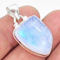 15.39cts natural rainbow moonstone 925 sterling silver pendant jewelry t23755