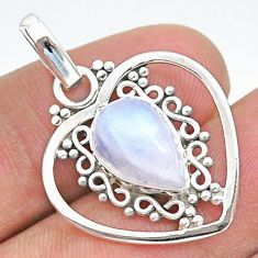 4.06cts natural rainbow moonstone 925 sterling silver pendant jewelry t35717