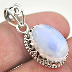 5.94cts natural rainbow moonstone 925 sterling silver pendant jewelry t46736
