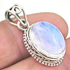 6.85cts natural rainbow moonstone 925 sterling silver pendant jewelry t46758