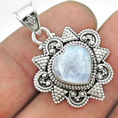 4.84cts natural rainbow moonstone 925 sterling silver pendant jewelry t56067