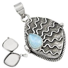 3.26cts natural rainbow moonstone 925 sterling silver poison box pendant r30630