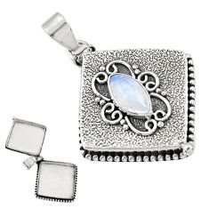 3.56cts natural rainbow moonstone 925 sterling silver poison box pendant r30639